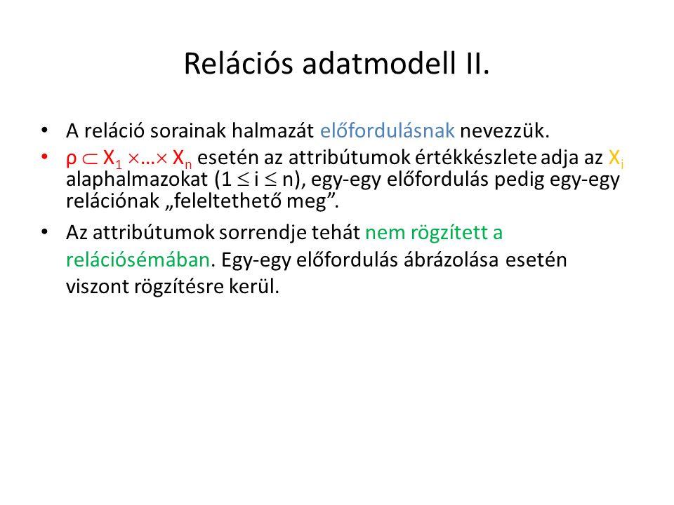 Relációs adatmodell II.