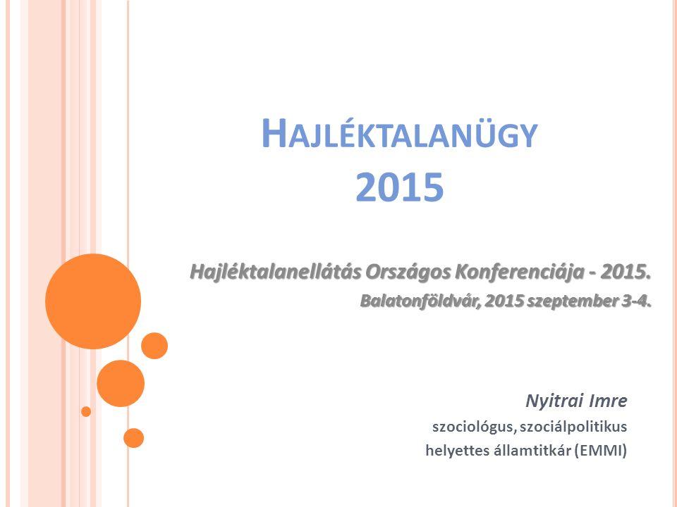 Hajléktalanügy 2015 Hajléktalanellátás Országos Konferenciája - 2015.