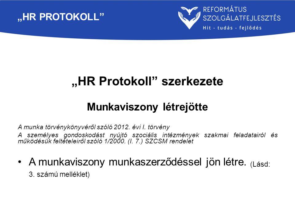 """""""HR Protokoll szerkezete Munkaviszony létrejötte"""