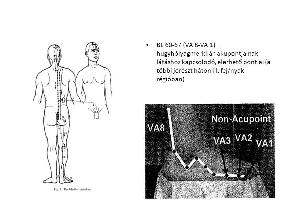 BL 60-67 (VA 8-VA 1)– hugyhólyagmeridián akupontjainak látáshoz kapcsolódó, elérhető pontjai (a többi jórészt háton ill.