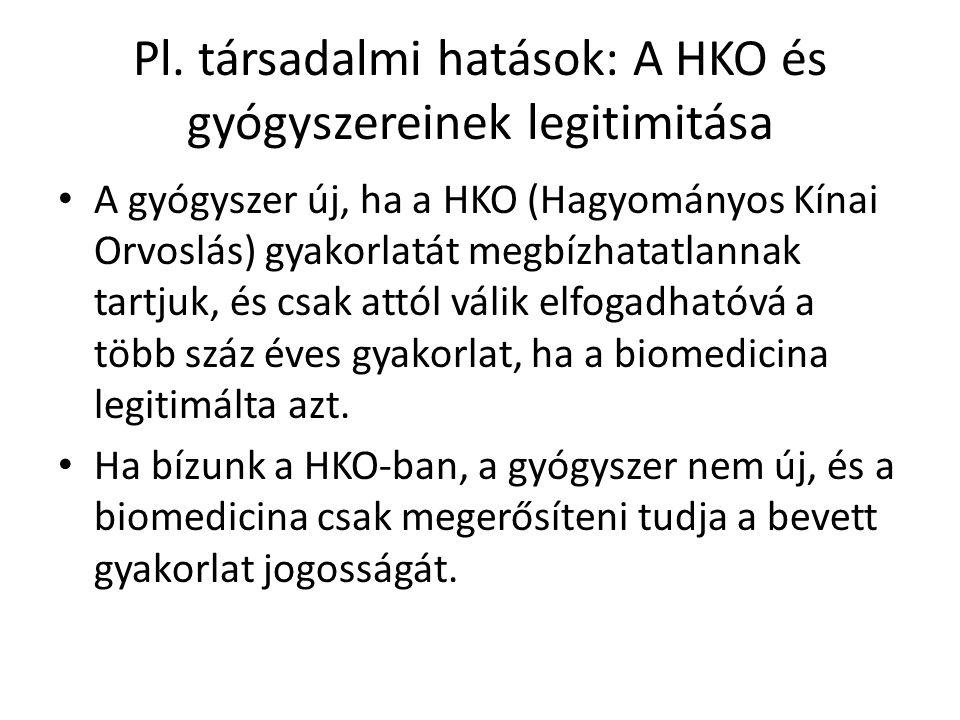 Pl. társadalmi hatások: A HKO és gyógyszereinek legitimitása