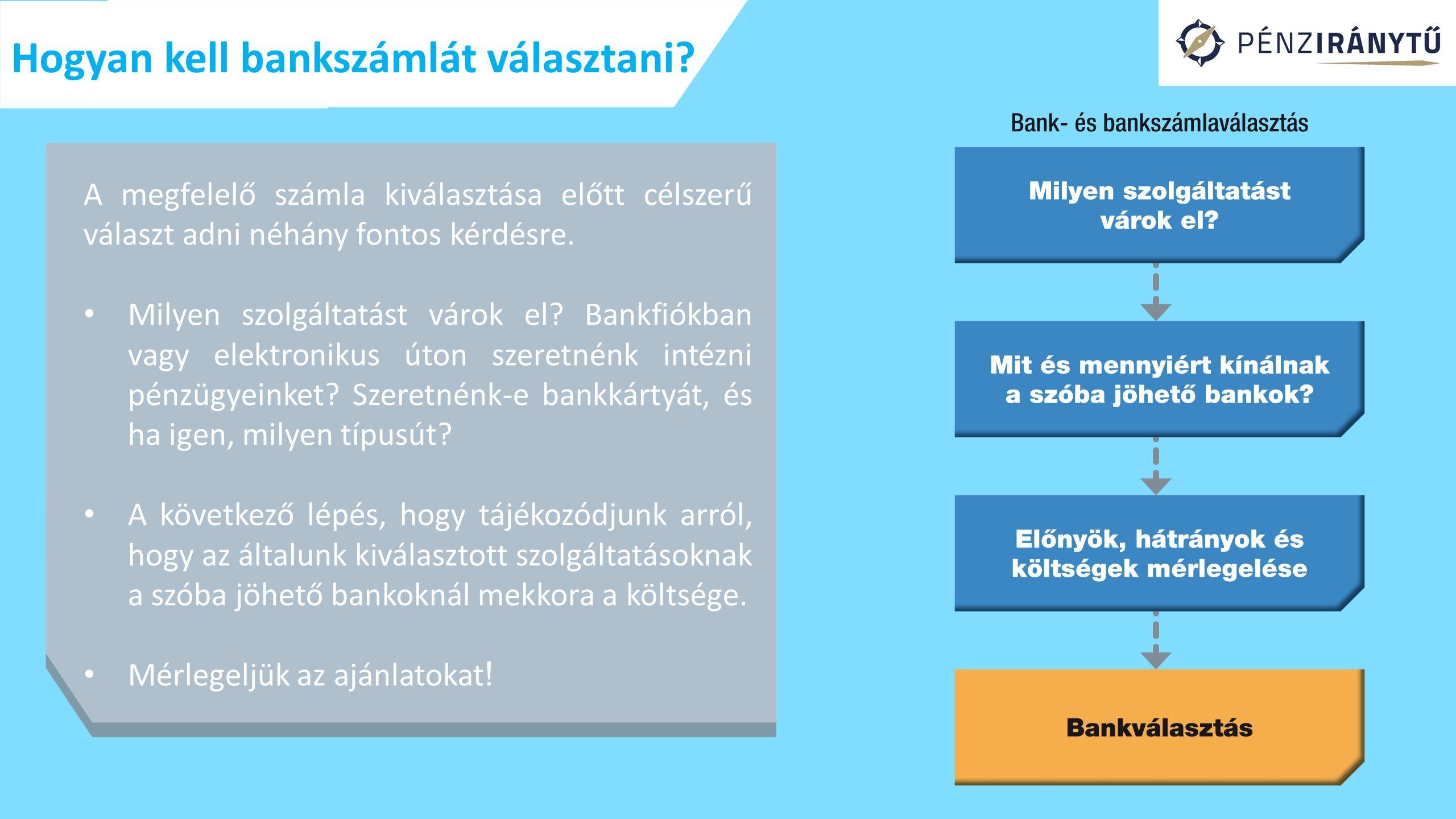 Hogyan kell bankszámlát választani
