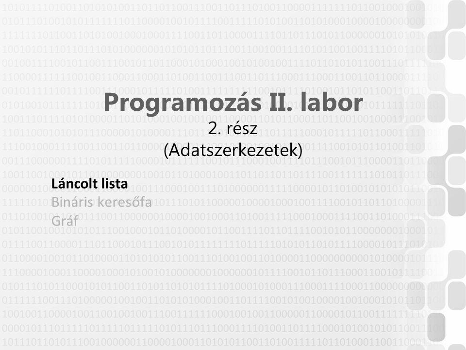 Programozás II. labor 2. rész (Adatszerkezetek)