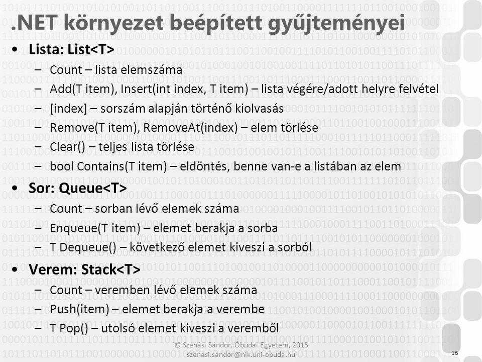 .NET környezet beépített gyűjteményei