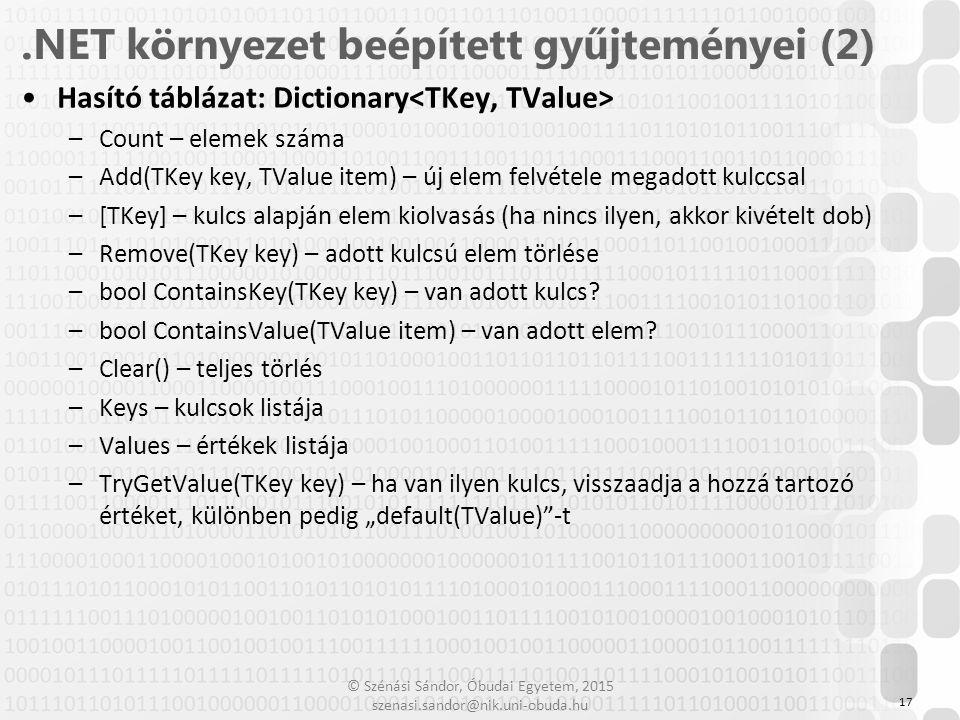.NET környezet beépített gyűjteményei (2)
