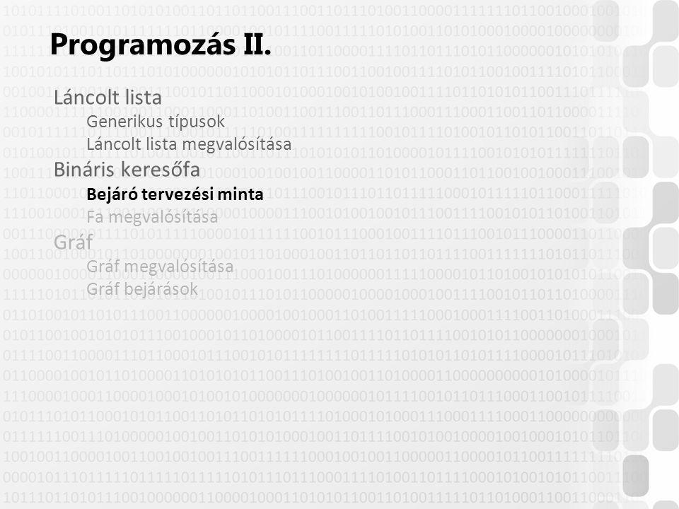 Programozás II. Láncolt lista Bináris keresőfa Gráf Generikus típusok