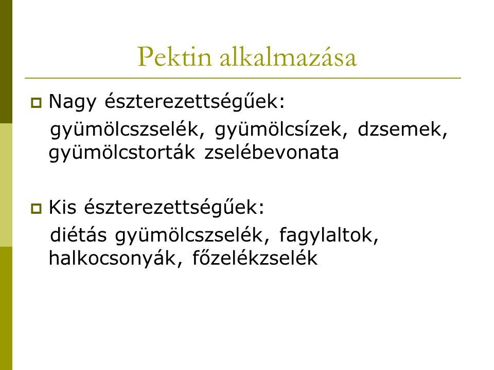 Pektin alkalmazása Nagy észterezettségűek: