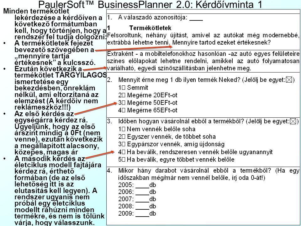 PaulerSoft™ BusinessPlanner 2.0: Kérdőívminta 1