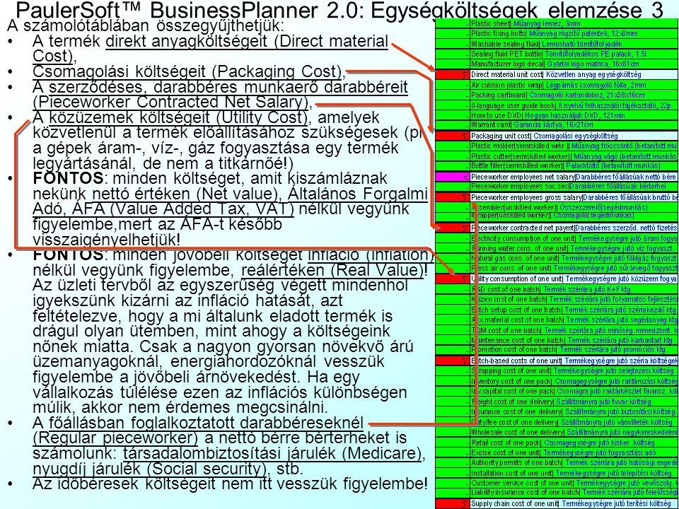 PaulerSoft™ BusinessPlanner 2.0: Egységköltségek elemzése 3