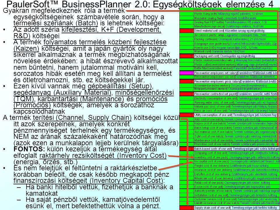 PaulerSoft™ BusinessPlanner 2.0: Egységköltségek elemzése 4