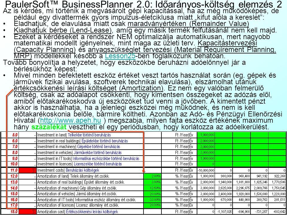 PaulerSoft™ BusinessPlanner 2.0: Időarányos-költség elemzés 2