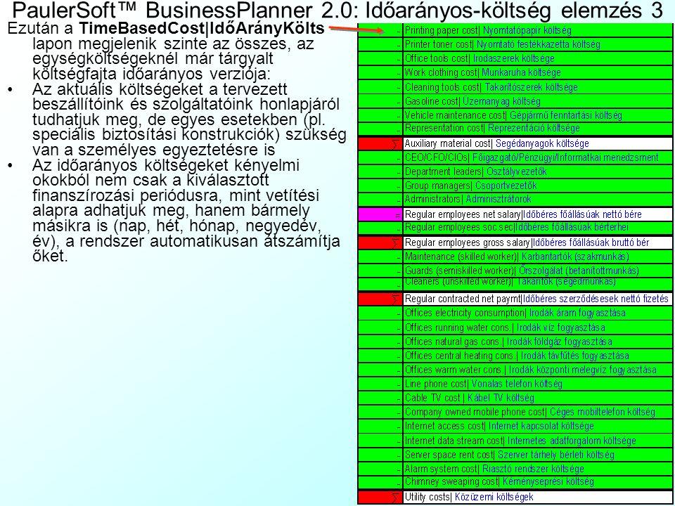 PaulerSoft™ BusinessPlanner 2.0: Időarányos-költség elemzés 3