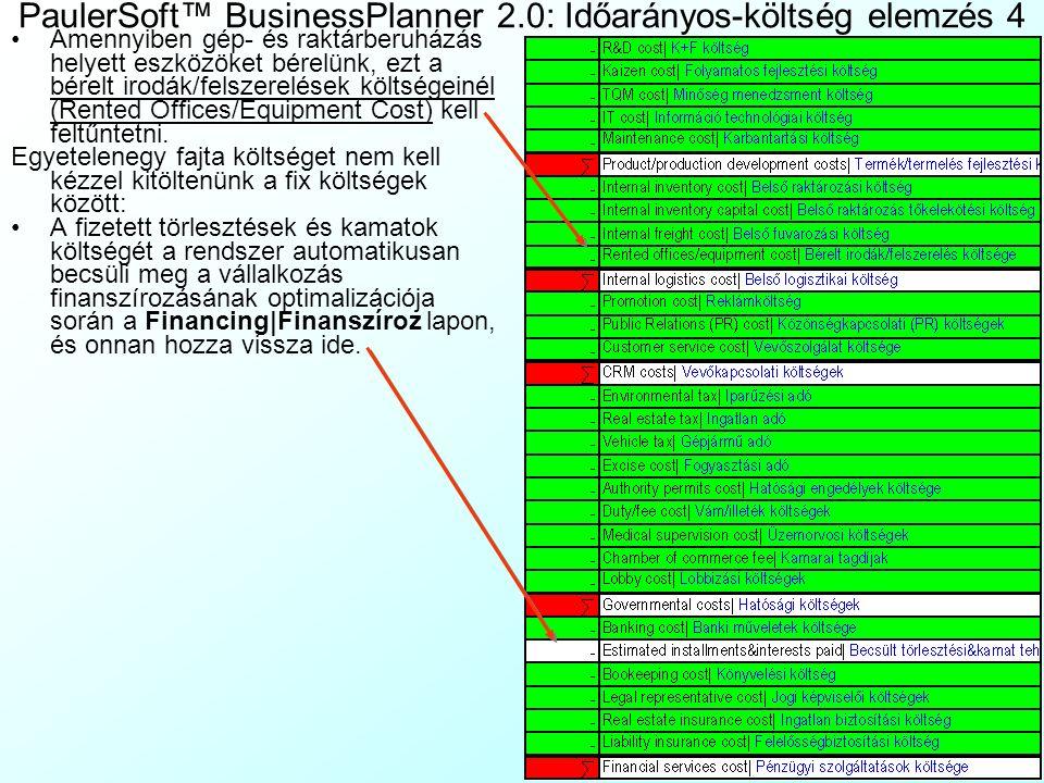 PaulerSoft™ BusinessPlanner 2.0: Időarányos-költség elemzés 4