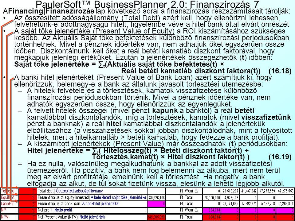 PaulerSoft™ BusinessPlanner 2.0: Finanszírozás 7