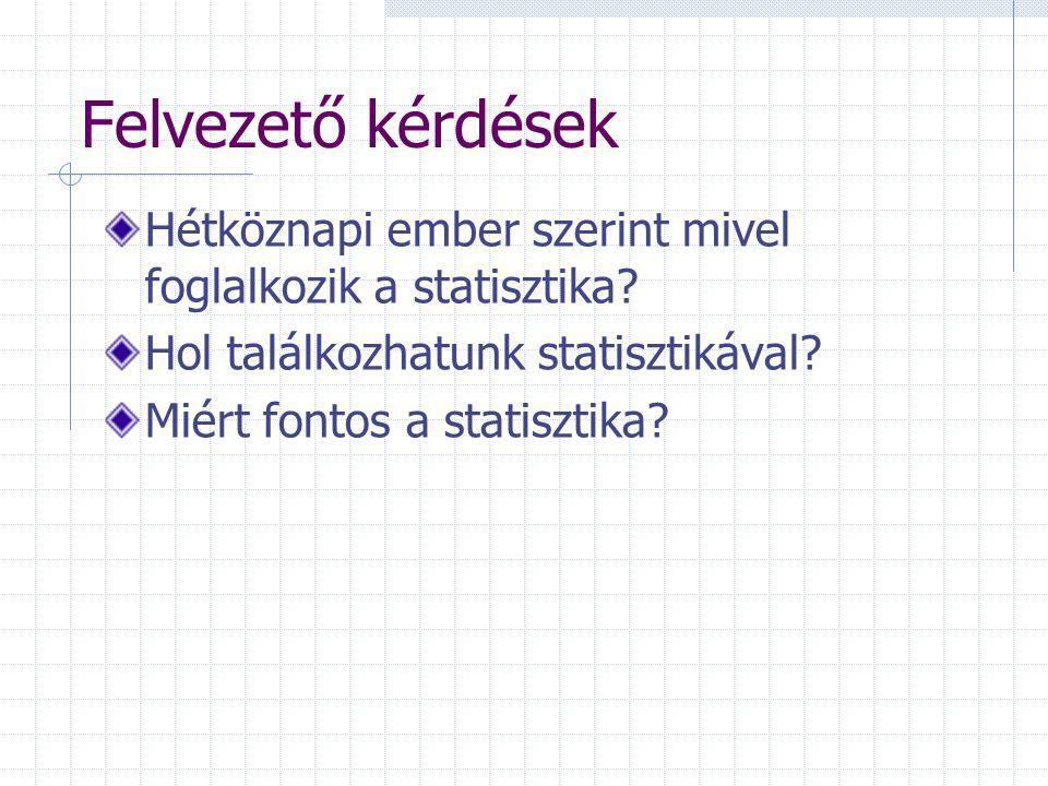 Felvezető kérdések Hétköznapi ember szerint mivel foglalkozik a statisztika Hol találkozhatunk statisztikával