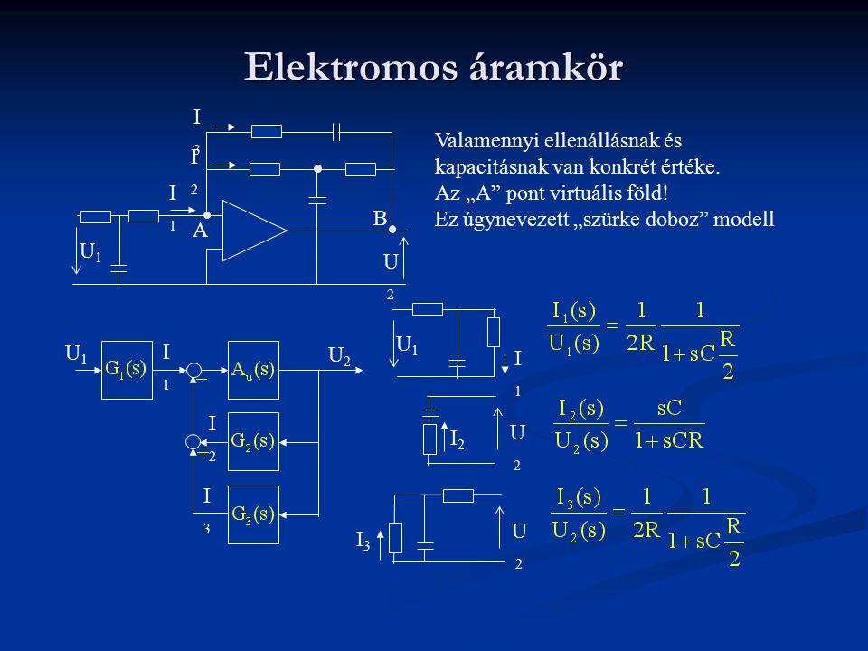 """Elektromos áramkör I3. Valamennyi ellenállásnak és kapacitásnak van konkrét értéke. Az """"A pont virtuális föld!"""