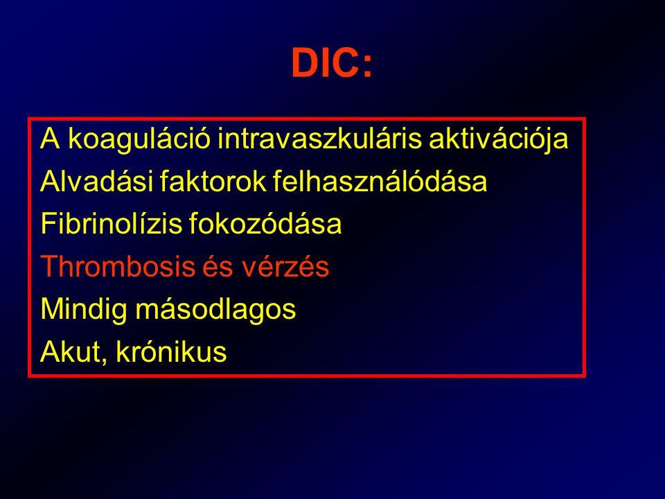 DIC: A koaguláció intravaszkuláris aktivációja
