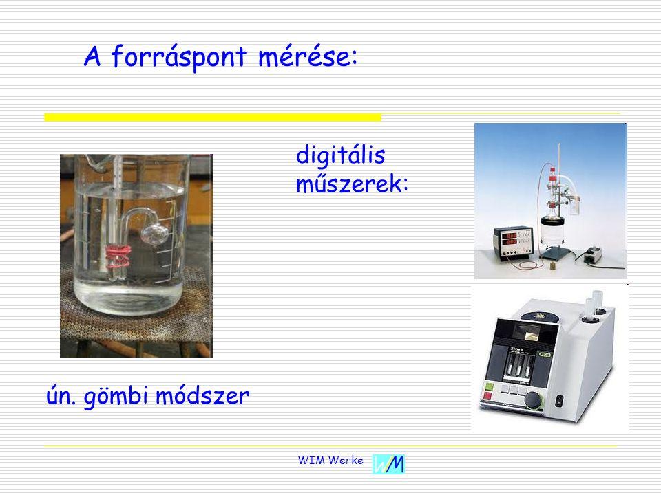 A forráspont mérése: digitális műszerek: ún. gömbi módszer WIM Werke