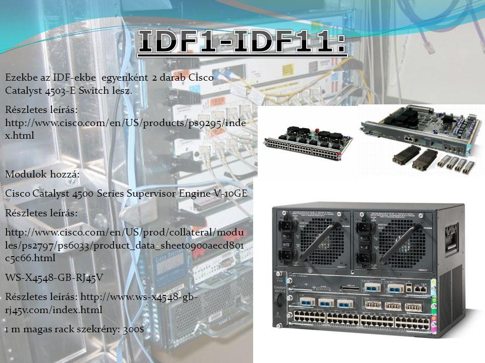 IDF1-IDF11: Ezekbe az IDF-ekbe egyenként 2 darab Cisco Catalyst 4503-E Switch lesz.