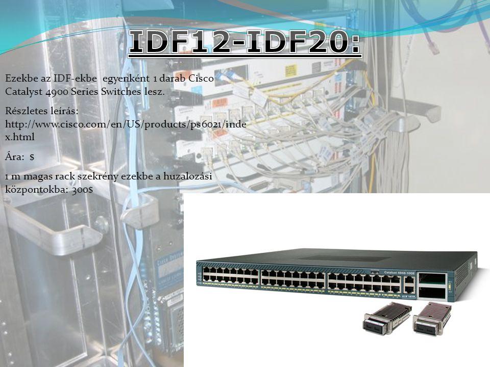 IDF12-IDF20: Ezekbe az IDF-ekbe egyenként 1 darab Cisco Catalyst 4900 Series Switches lesz.