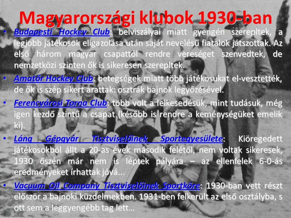 Magyarországi klubok 1930-ban
