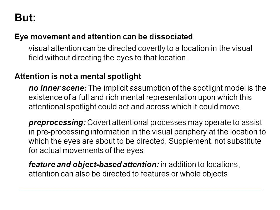 But: Eye movement and attention can be dissociated