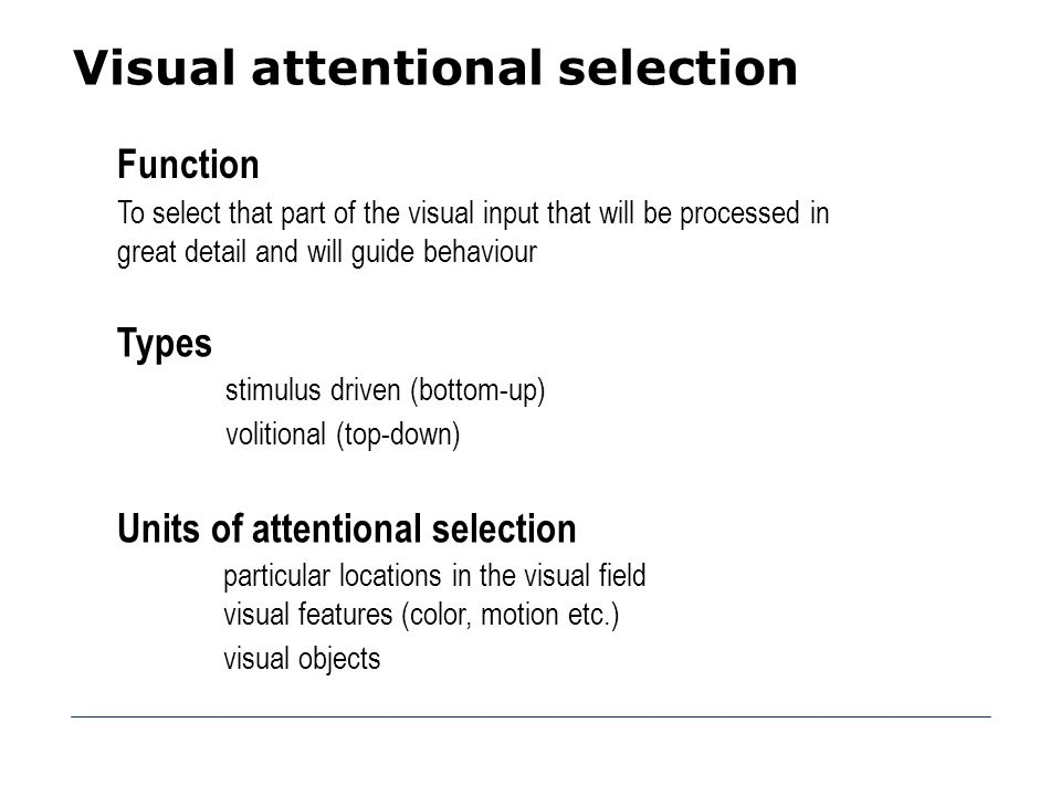 Visual attentional selection
