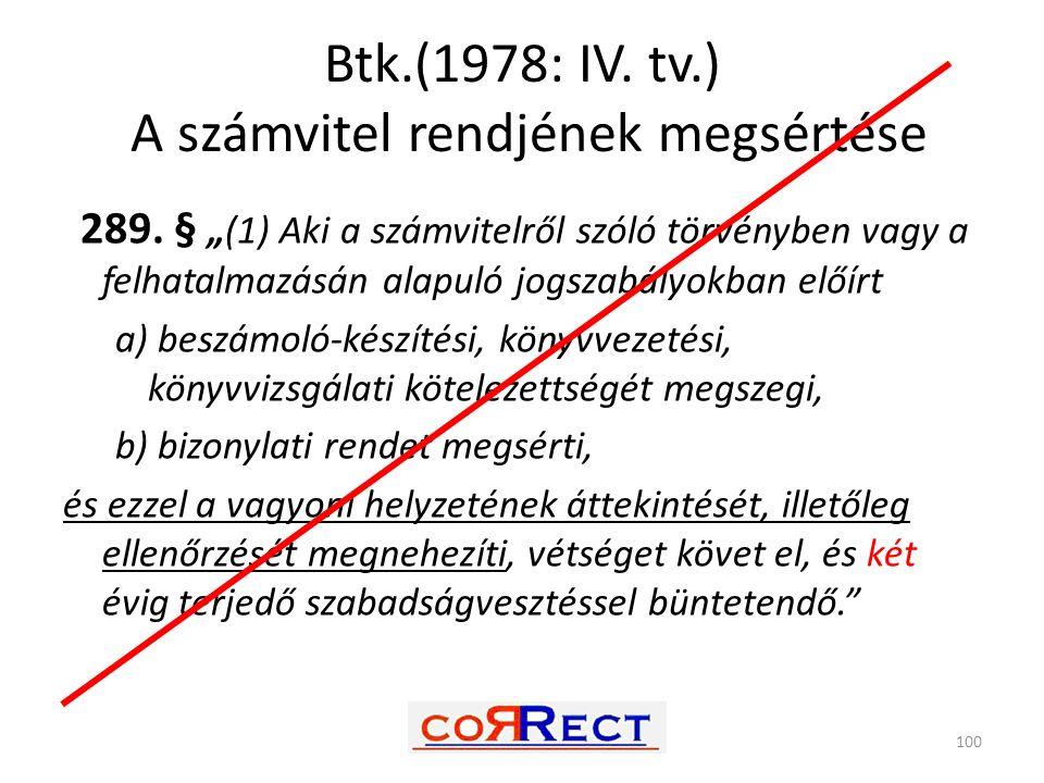 Btk.(1978: IV. tv.) A számvitel rendjének megsértése