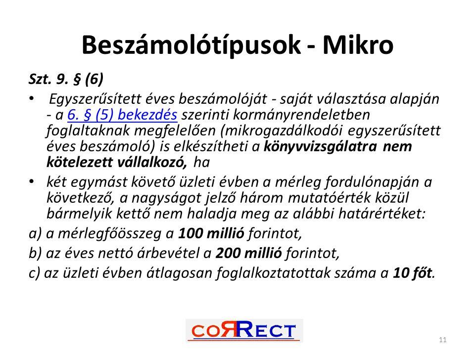 Beszámolótípusok - Mikro