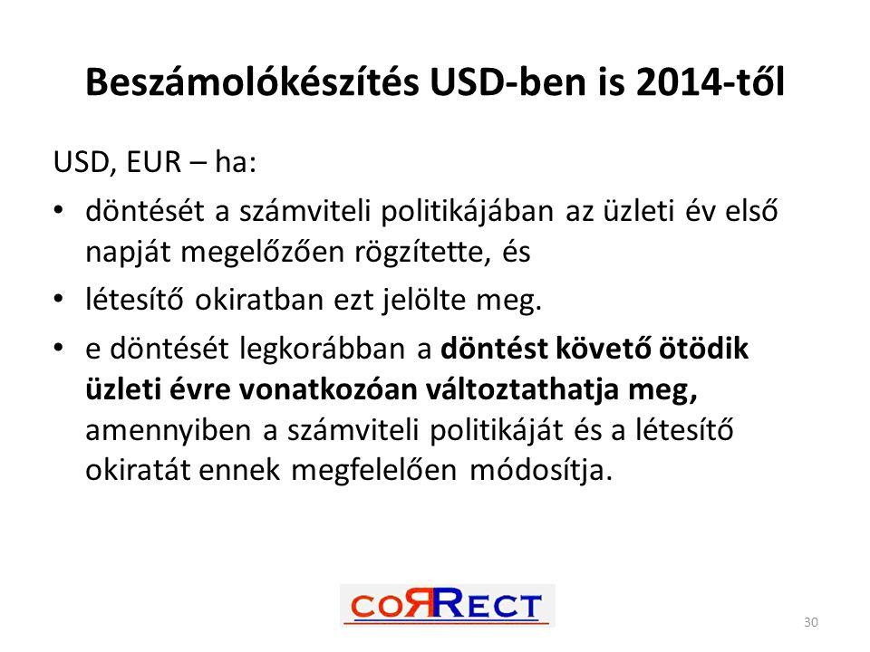 Beszámolókészítés USD-ben is 2014-től