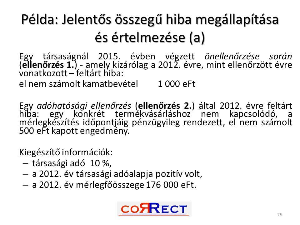 Példa: Jelentős összegű hiba megállapítása és értelmezése (a)