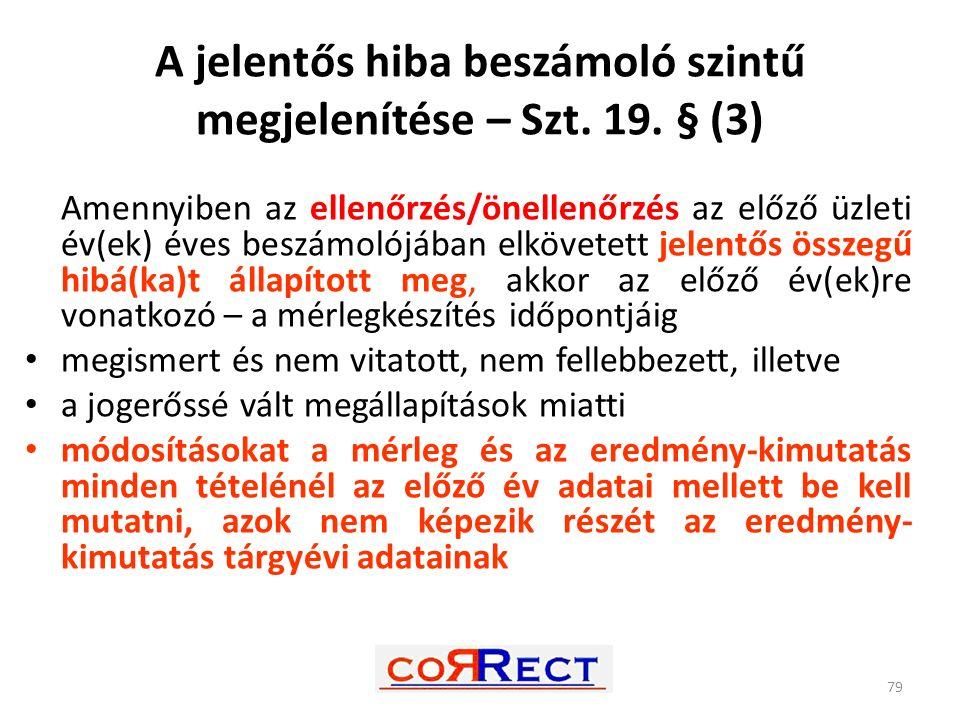A jelentős hiba beszámoló szintű megjelenítése – Szt. 19. § (3)