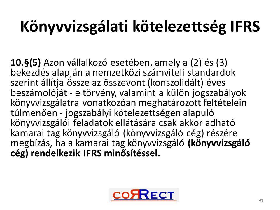 Könyvvizsgálati kötelezettség IFRS
