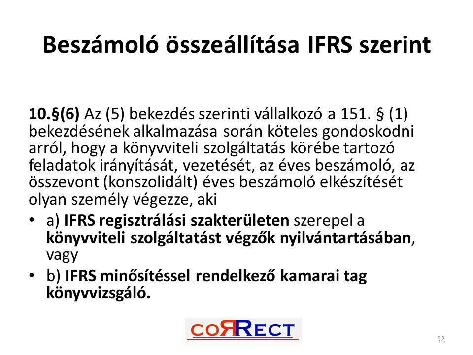 Beszámoló összeállítása IFRS szerint