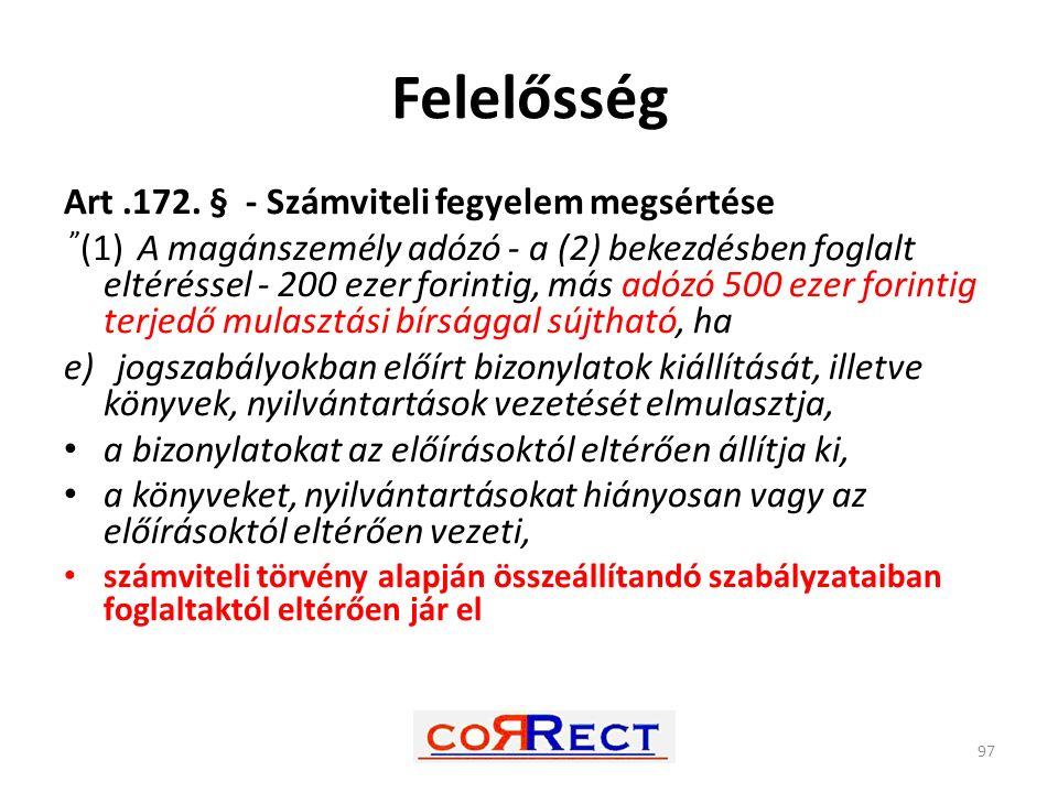 Felelősség Art .172. § - Számviteli fegyelem megsértése