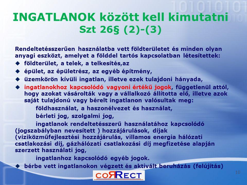 INGATLANOK között kell kimutatni Szt 26§ (2)-(3)