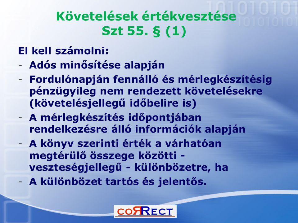 Követelések értékvesztése Szt 55. § (1)