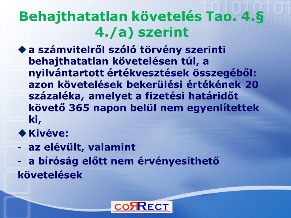 Behajthatatlan követelés Tao. 4.§ 4./a) szerint