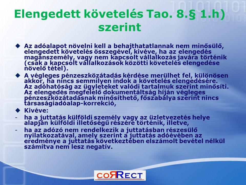 Elengedett követelés Tao. 8.§ 1.h) szerint
