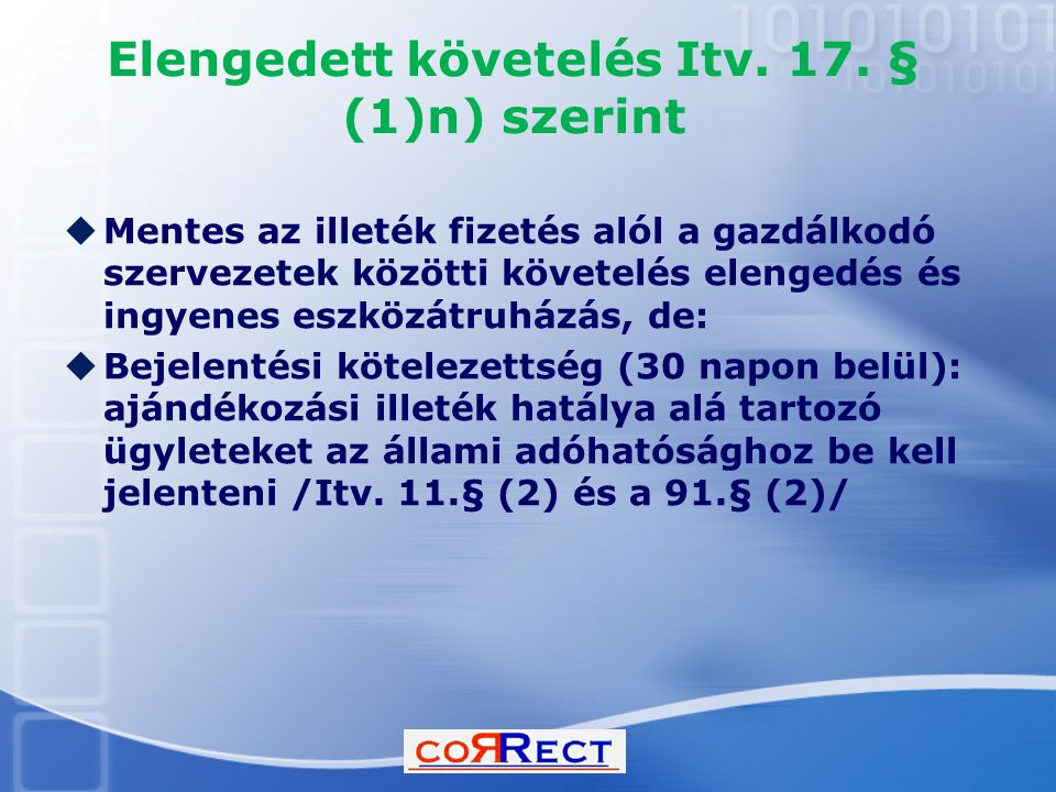 Elengedett követelés Itv. 17. § (1)n) szerint