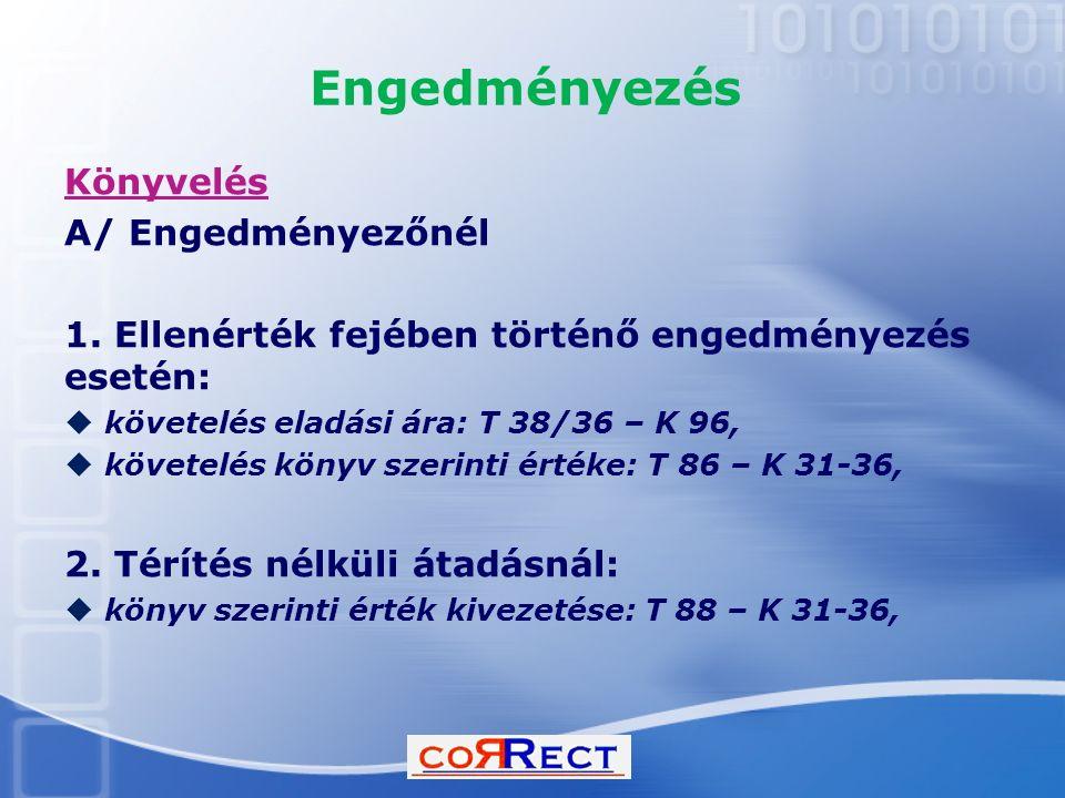 Engedményezés Könyvelés A/ Engedményezőnél
