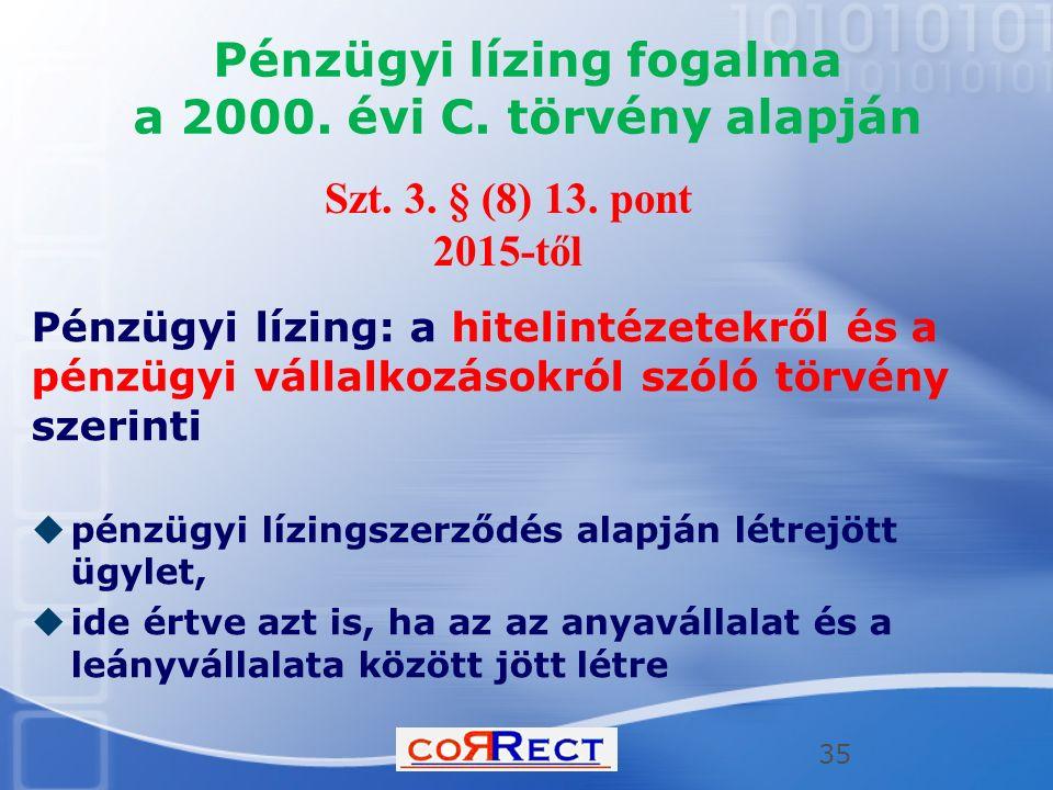 Pénzügyi lízing fogalma a 2000. évi C. törvény alapján