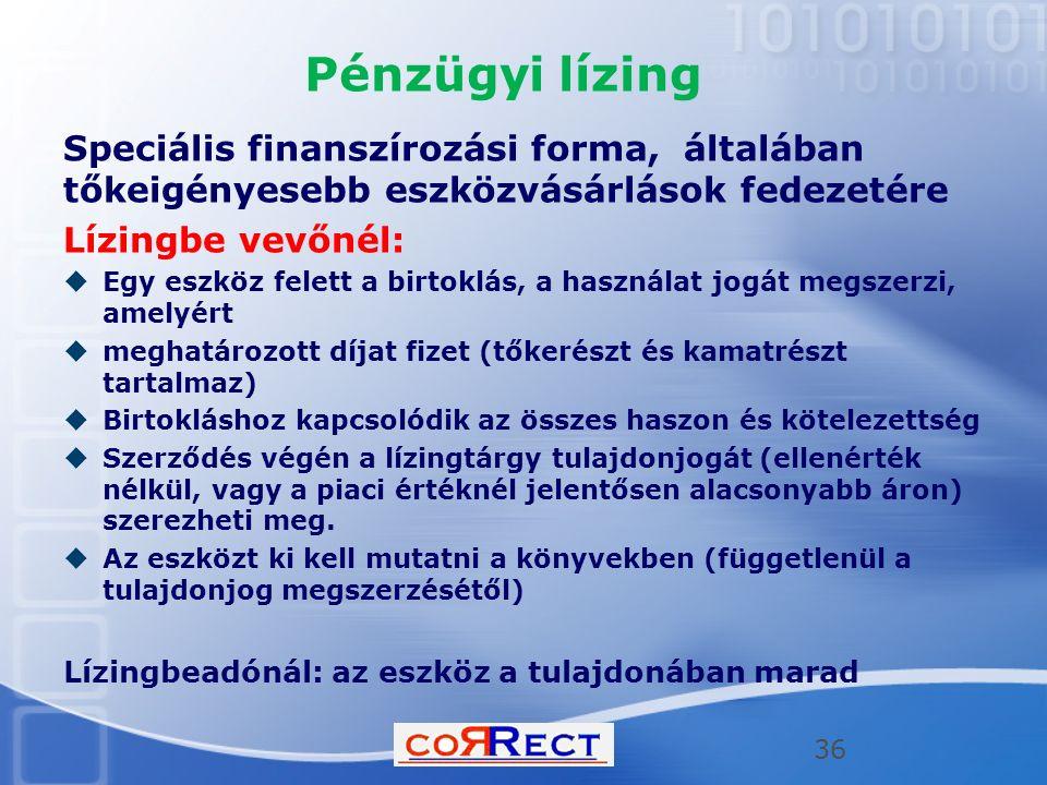 Pénzügyi lízing Speciális finanszírozási forma, általában tőkeigényesebb eszközvásárlások fedezetére.
