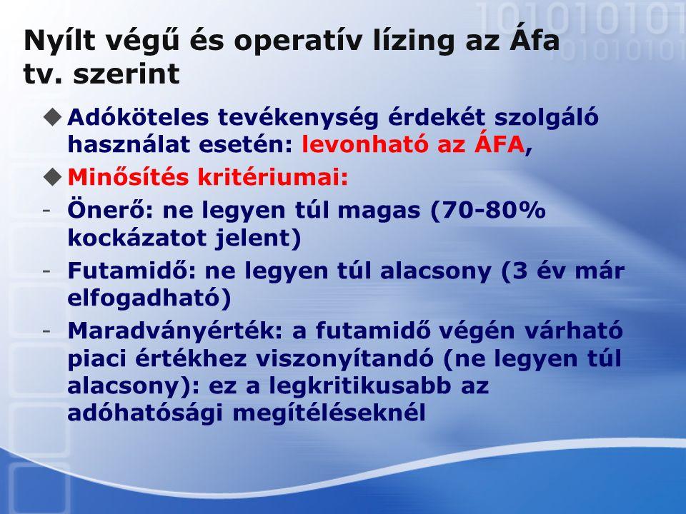 Nyílt végű és operatív lízing az Áfa tv. szerint