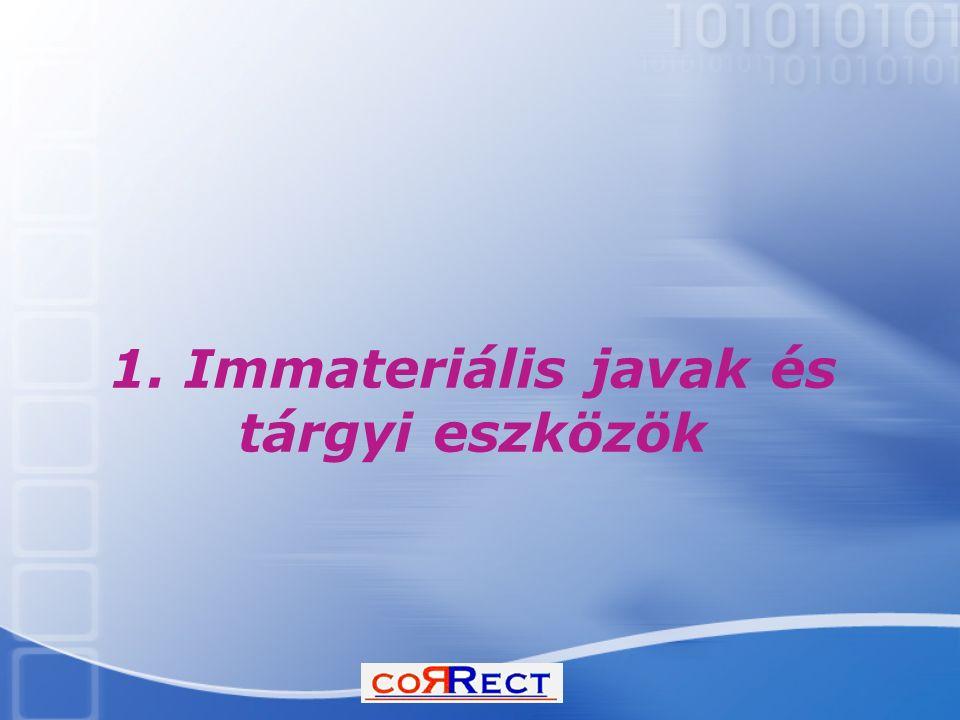 1. Immateriális javak és tárgyi eszközök