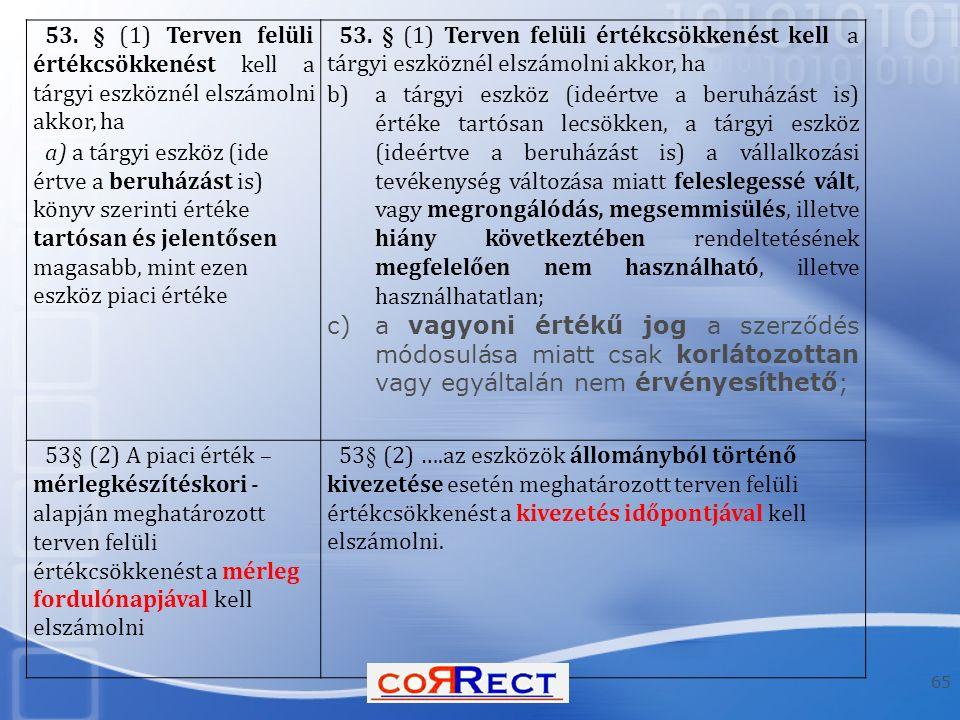 53. § (1) Terven felüli értékcsökkenést kell a tárgyi eszköznél elszámolni akkor, ha