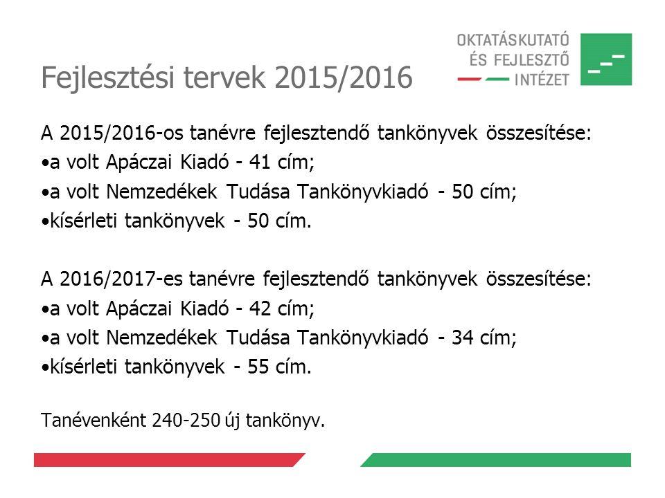 Fejlesztési tervek 2015/2016 A 2015/2016-os tanévre fejlesztendő tankönyvek összesítése: a volt Apáczai Kiadó - 41 cím;
