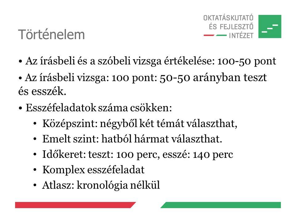 Történelem Az írásbeli és a szóbeli vizsga értékelése: 100-50 pont