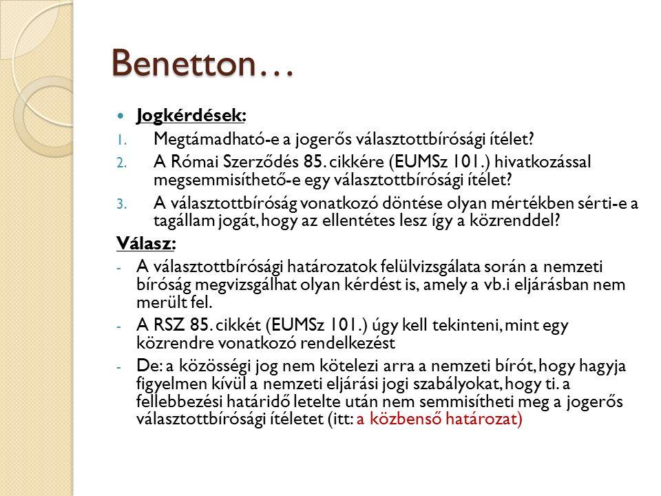 Benetton… Jogkérdések: