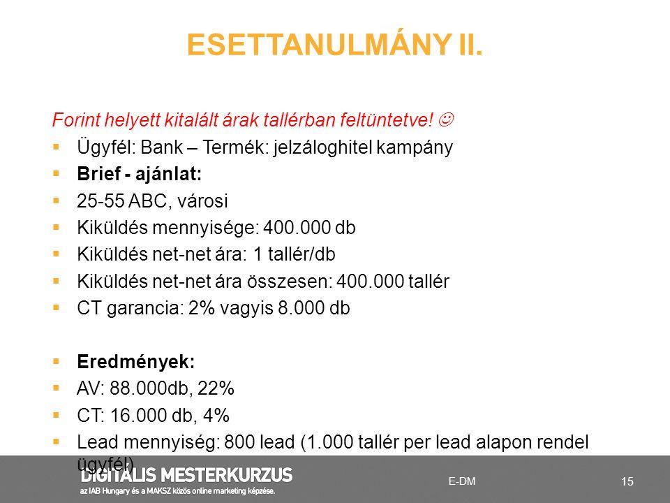 ESETTANULMÁNY II. Forint helyett kitalált árak tallérban feltüntetve!  Ügyfél: Bank – Termék: jelzáloghitel kampány.